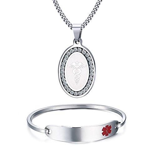 Free Engraving Stainless Steel Medical Alert ID Bangle Bracelet +Pendant Necklace,7.5''+24'' by VNOX
