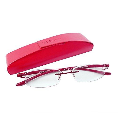 BEGLAD(《비구랏도》) 시니어 글래스 안경 돋보기 세련된 케이스 첨부  BL3007RD 경량《후치》없음 프레임 (도수 +1.5)