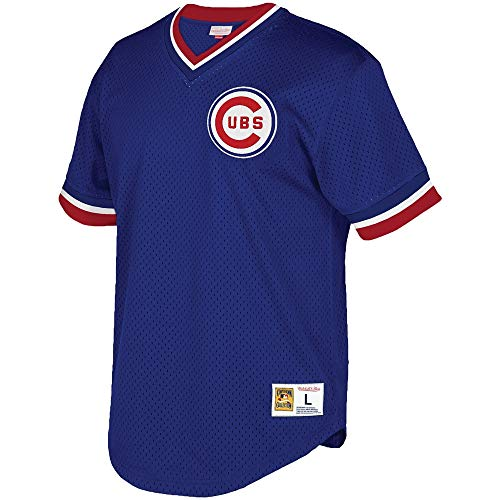 Chicago Cubs Mitchell & Ness Men's Mesh V-Neck Jersey Blue (Large)