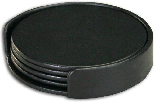 (Dacasso Black Leather 4-Round Coaster Set)