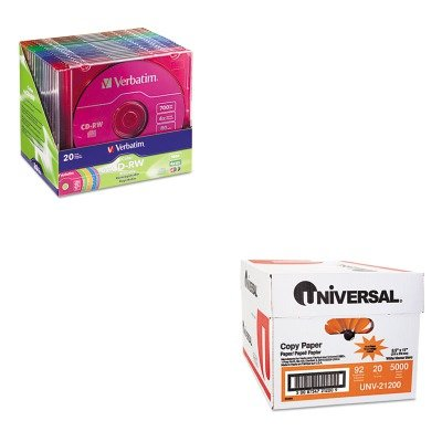 KITUNV21200VER94300 - Value Kit - Verbatim CD-RW Discs (VER94300) and Universal Copy Paper (UNV21200) by Verbatim