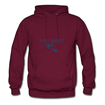 Women Hoody Casual I Do Right Print X-large With 100% Cotton Burgundy