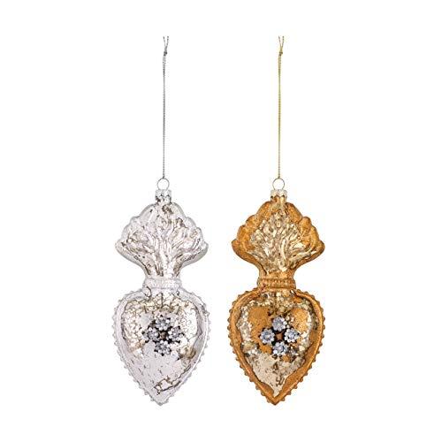 DEMDACO Milagro Heart Metallic 2.5 x 6 Inch Glass Christmas Ornaments Assorted Set of 2