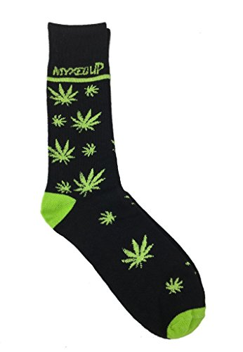 Pot Leaf Staggered Myxed Up Colorado Style Unisex High Socks