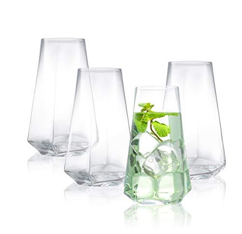 JoyJolt Infiniti Highball Glasses Set of 4 – 18Oz Cocktail Glasses – Glassware Drinking Set – Premium Crystal Glass…
