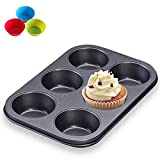 Muffin Pan 6 Cup Nonstick Cupcake Pan Cookies Bakeware Tray Mold Extra With 3pcs Silicone Baking Cases