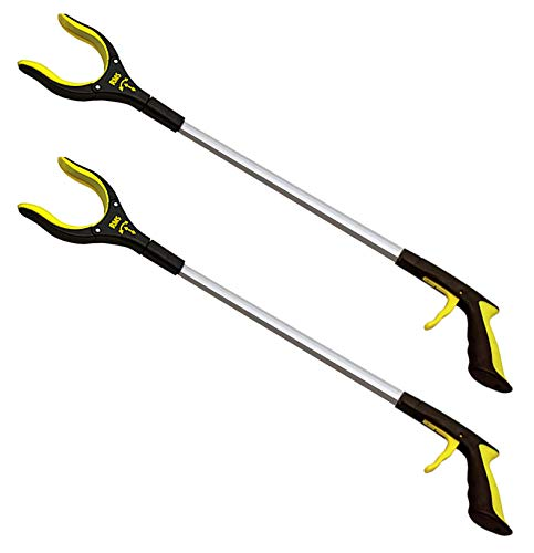 2-Pack 32 Inch Extra Long Grabber Reacher with Rotating Jaw - Mobility Aid Reaching Assist Tool (Yellow)