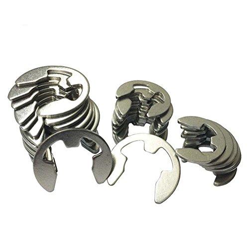 Pack 120 Piece External Retaining Ring E-Clip Assortment Set Stainless Steel