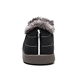 SITAILE Fuzzy Ankle Snow Boots Slip on Water-proof Winter Outdoor Booties Shoes for Unisex Men Women, Black (Low Top 39)