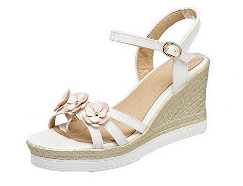 VogueZone009 Women Open Toe Buckle PU Solid High-Heels Sandals, CCALO012673 White