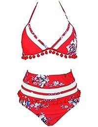 4c6d41fc183 Women s Mesh Striped High Waist Bikini Set Tassel Trim Top Halter Straps  Swimsuit(FBA)