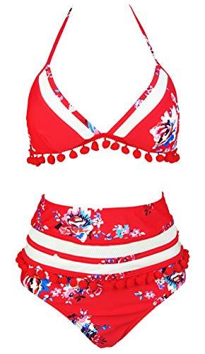 Trim Floral Bikini - COCOSHIP Red & White & Jade Pink Garden Floral Striated Mesh High Waist Bikini Set Pom Pom Tassel Straps Swimsuit Swimwear 4