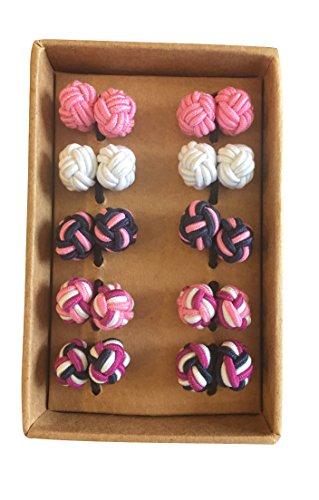 Silk Knot Cufflinks - Gift set 5 pairs - Mixed Pink - Blue Knot Cufflinks
