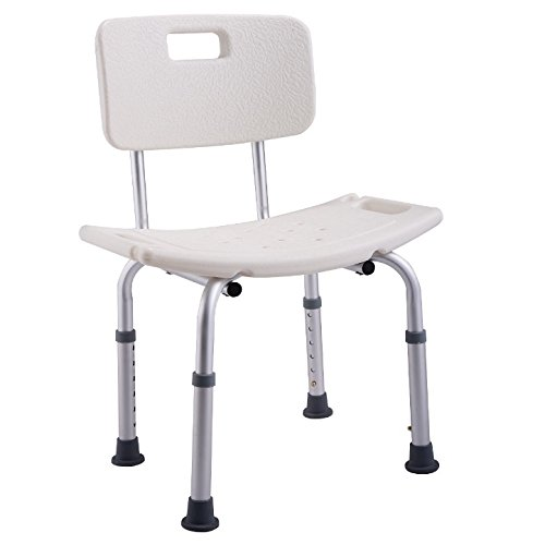 6 Position Height Adjustable White Bath Shower Medical Chair Backrest Stools Bench Bathtub Stool Polyethylene Seat Heavy Duty Durable Aluminum Frame Slip Resistant For Elderly And Handicapped People - 6 Backrest