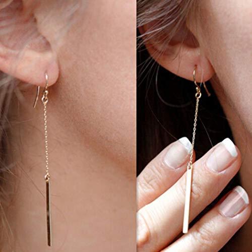 - Artmiss Women Earrings Gold Long Drop Dangle Simple Dainty Bar Earring Ear Chain for Girls