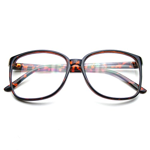 Large Oversized Glasses Clear Lens Thin Frame Nerd Glasses (Tortoise - Nerd Square Large Glasses
