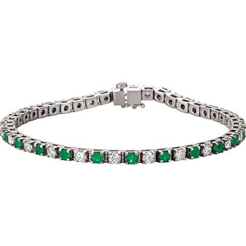 14K White Gold Emerald & 2 1/3 CTW Diamond Bracelet
