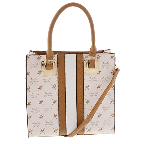 Beverly Hills Polo Club Womens Faux Leather Printed Tote Handbag Ivory - Us Cheap Polo