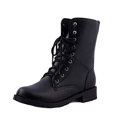Zapatos de mujer Zapatos de hombre Botas cortas de mujer Señoras Ankle Botas Otoño invierno Calentar Cuero Cordones Plano Negro Casual Botas LMMVP: ...