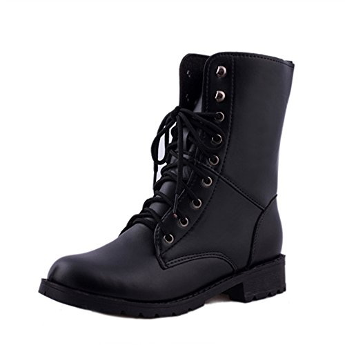 - Faionny Women Plus Size Boots Flat Military Combat Boots Lace Up Shoes Winter Warm Sowshoes Sneakers