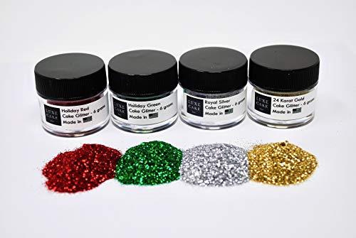 Sanding Sugar Set - Christmas Holiday Diamond Dust Set, 24 grams, USA Made