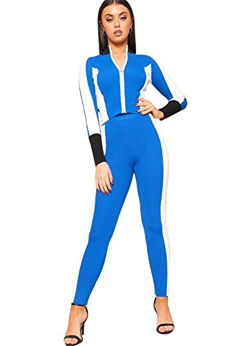 WearAll Women's Contrast Striped Rib Long Sleeve Zip Crop Top Leggings Co-Ord Set - Royal Blue - US 8-10 (UK 12-14)