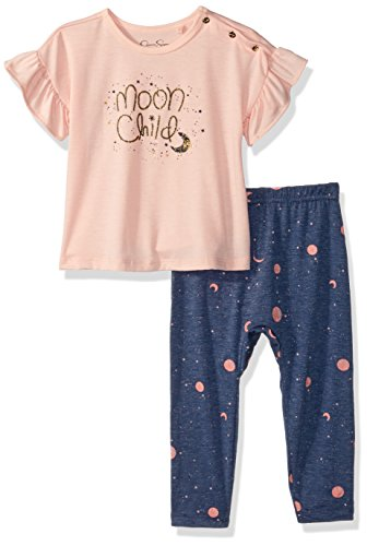 Girl Printed Fashion Top - Jessica Simpson Baby Girls Printed Fashion Top and Legging Set, Tropical Peach, 3-6 Months