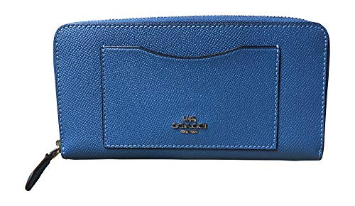 Coach Crossgrain Leather Accordion Zip Wallet (Sky Blue) (Accordion 2 Tones)