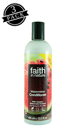 Faith in Nature Conditioner, Watermelon (400 ml Bottle, 3-Pack); All-Natural Hydrating Hair Care for Dry to Normal Hair w/Organic Watermelon and Pure Essential Oils
