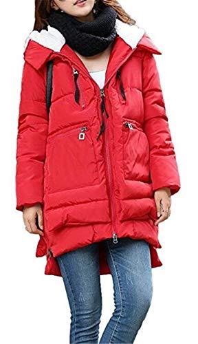 Anteriori Con Monocromo Di Trapuntata Giaccone Donna Giacca Irregular Abbigliamento Cerniera Tasche Lunga Rot Caldo Cappotti Outerwear Invernali Manica Moda q14FnWF