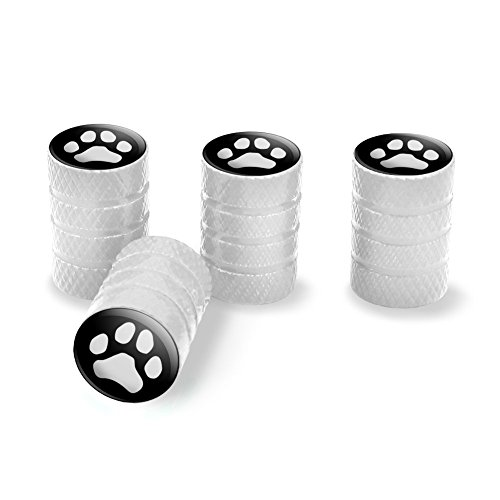 Black Car White Rims (Paw Print Dog Cat White on Black Tire Rim Wheel Aluminum Valve Stem Caps - White)