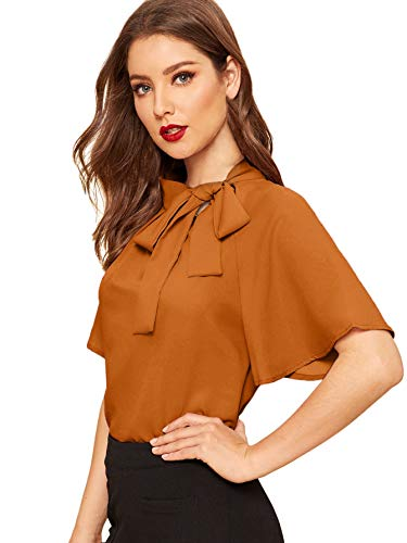 SheIn Women's Casual Side Bow Tie Neck Short Sleeve Blouse Shirt Top Large Brown