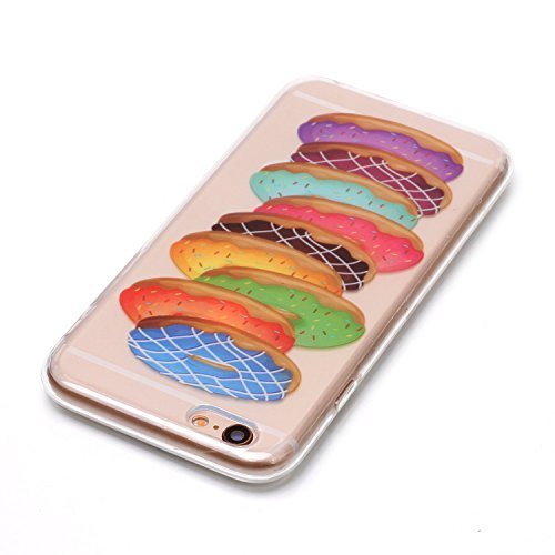 Funda iPhone 6 / 6S 4.7,Carcasas iPhone 6S Gel TPU Silicona Flexible Transparente Ultra Delgado Ligero Goma Case Cover Caja Suave Gel Shock Absorción Anti Rasguños Anti Choque Bumper Protectora Funda Donuts
