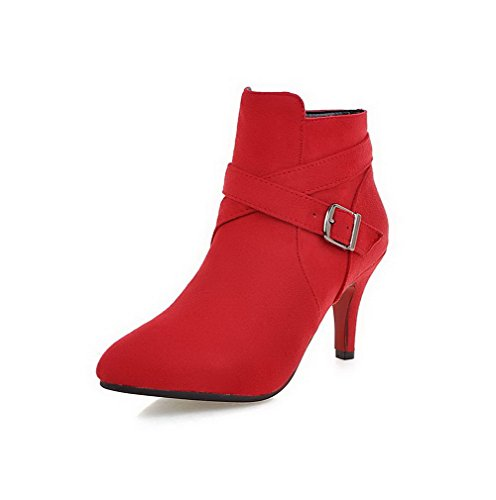 Pointed high Solid Red Ankle Toe Women's Boots Heels High Frosted Closed Allhqfashion Hwg5qU8z