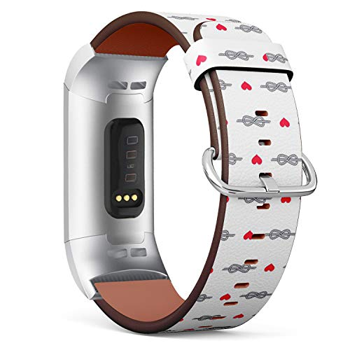 Compatible with Fitbit Charge 3 / Charge 3 SE - Leather Band Bracelet Strap Wristband Replacement with Adapters - Figure Eight Knot Heart Hearts