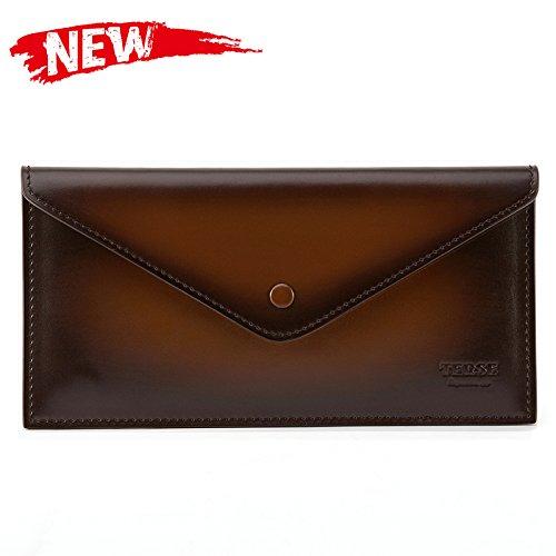 TERSE Women Men Leather Long Zipper Wallet Envelope Clutch Purse Evening Bag - Italian (Skin Leather Clutch)