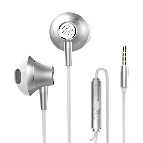 In Ear Headphones with Microphone Stereo Wired Earphones Earbuds with Mic and Volume Control for Running Gym Fits iPhone 6S Plus 6 SE 5S Samsung Galaxy S7 S6 Note Music Player 3.5 mm (White)