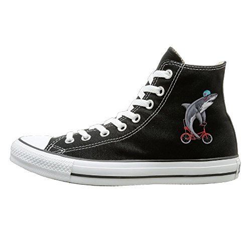 Shenigon Cute Shark On Bike Canvas Shoes High Top Casual Black Sneakers Unisex Style 43 (Shark Ionflex 2x Best Price)