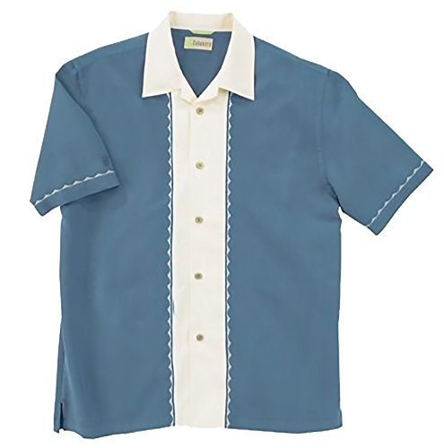 Camp Panel Shirt (Cubaveradult Grid Texture Short Sleeve Camp Shirt with Embroidery - Blue/Ivory CM112 S)