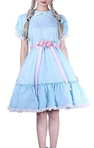 ROLECOS Lolita Dress Blue Chiffon Dress Puff Sleeve Halloween Party Cosplay Costume (L, Adult-Blueb)