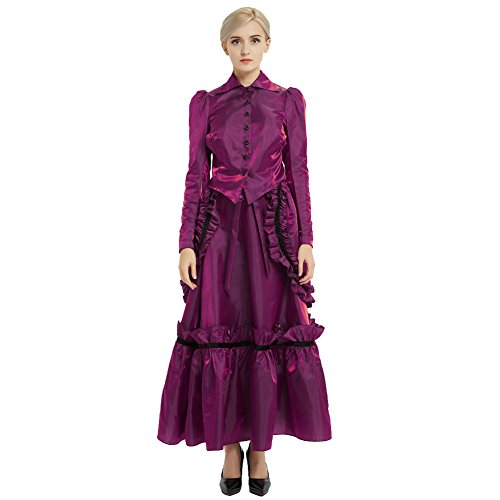 GRACEART Steampunk Girl Costume Edwardian Dress with Bustle Top Skirt (16, Purple) -