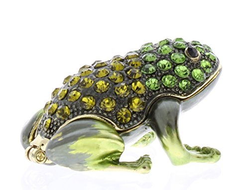 - Small Frog Trinket Box, Olive & Peridot Swarovski Crystal, Hand Painted Green Enamel Over Pewter, Inside of Box with Lovely Enamel, L 1.75 X H 1.00 X W 1.50