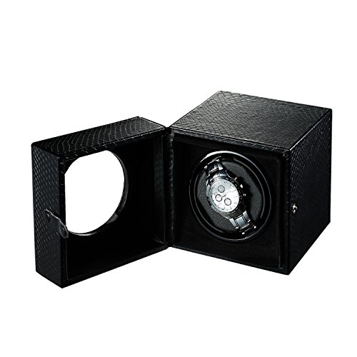 OLYMBROS Single Rotor Automatic Watch Winder Storage Boxes for Men by Snake-print Synthetic Leather