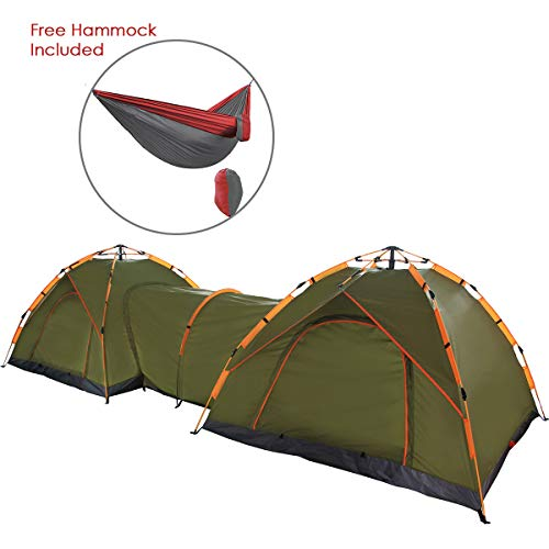 Qwest Double Instant Pop Up Camping Tents with Passageway, Automatic Green Lightweight 17′ Long Portable 6-Person, with Free Portable Hammock | Aluminum & Fiberglass Poles | Sets up in Seconds