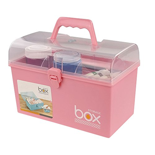 Pekky Plastic Small Handle Storage Box for Art Craft and Cosmetic (Pink)]()