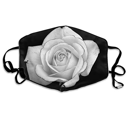 uth Mask Beautiful White Rose Picture Polyester Anti-dust Masks Washed Reusable Face Mask for Outdoor Cycling ()