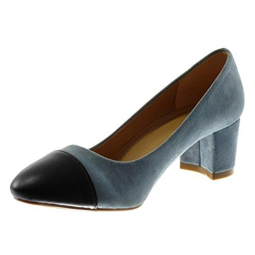 Tacco 5 Blu Materiale Bicolore Scarpe Scarpe Blocco 5 cm bi Donna Moda Decollete Angkorly Decollete a wTzx7fqxZ