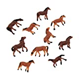 #9: Towashine 10Pcs 1:150 Plastic Mini Horse Model Toy Figures 0.5 Inch for Party Kids Diorama Train Building Layout