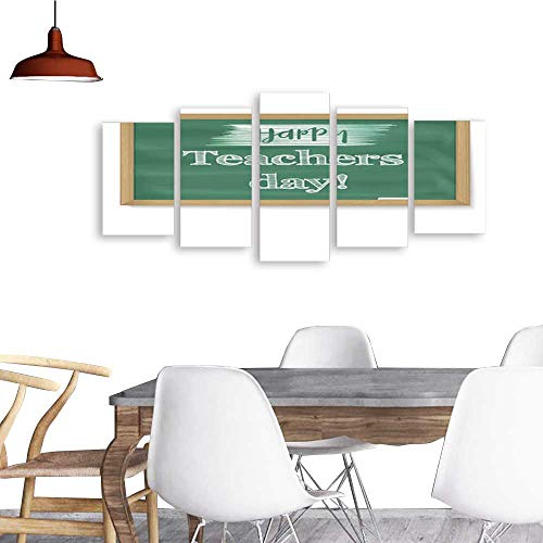 UHOO Landscape Artwork Canvas Prints Happy Teacher Day School Chalkboard with calligraphic Text Written in Chalk Realistic Greeting Banner for Your Congratulations Cards. Home Decorations Wall Decor