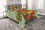 Lunarable Vintage Hawaii Bedspread Set Queen Size, Old School Hawaiian Image with Mask Floral Elements Guitar and Palm Trees, Decorative Quilted 3 Piece Coverlet Set with 2 Pillow Shams, Multicolor